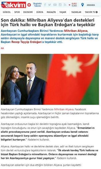 Mehriban Əliyevanın Qarabağla bağlı arzuları Türkiyə mediasında geniş işıqlandırılıb – FOTO