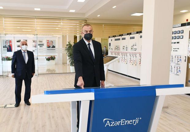 """İlham Əliyev """"Binəqədi"""" yarımstansiyasının açılışında"""