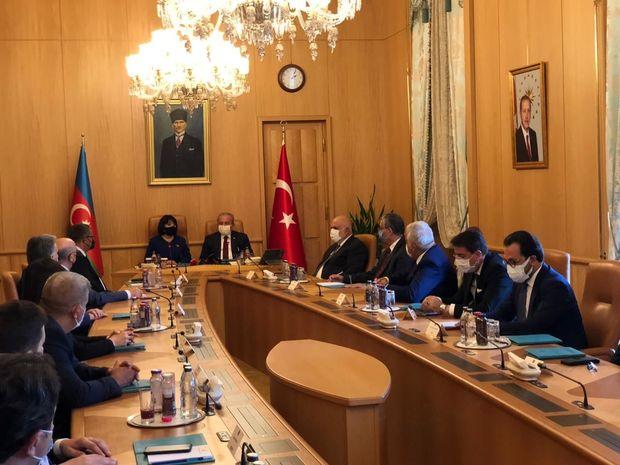 Sahibə Qafarova Türkiyə parlamentinin sədri ilə müzakirələrdə