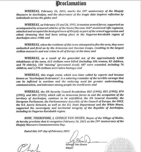 ABŞ-ın Skoki şəhərinin meri Xocalı qətliamının ildönümü ilə bağlı bəyannamə imzalayıb – FOTO